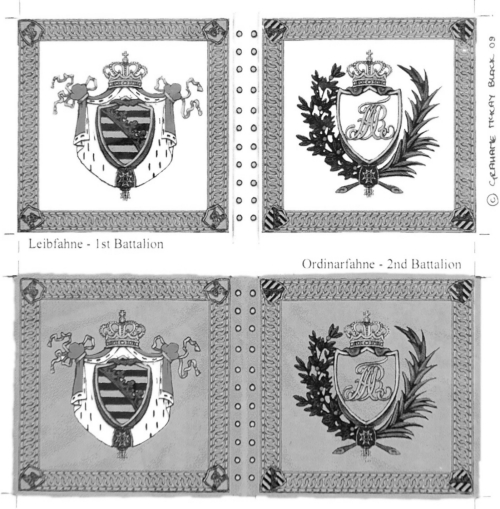 GMB 1811-issue flags for the Prinz Maximilian regiment (B&W image)
