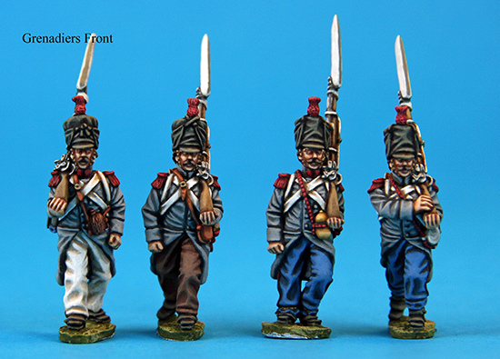 Front view of Calpe French grenadiers (Pack F3) painted by Peter F.