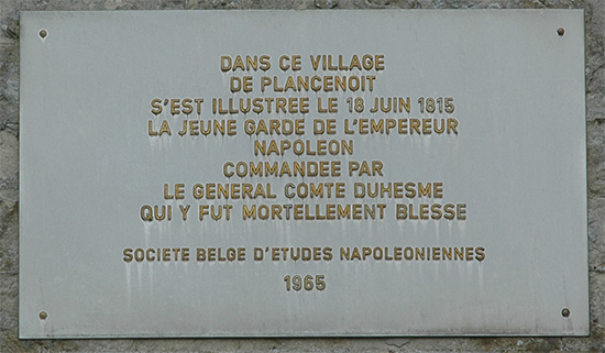 Plaque in honour of General Count Duhesme.