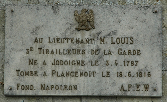 Plaque in honour of Lieutentant M. Louis.